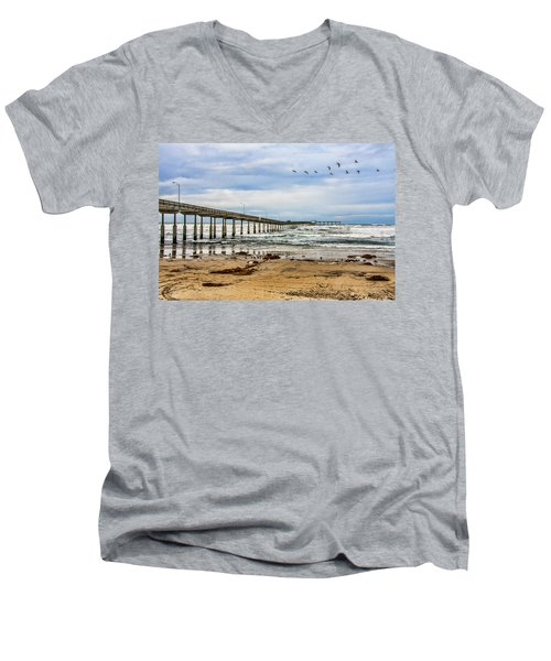 Ocean Beach Pier Fishing Airforce Men's V-Neck T-Shirt