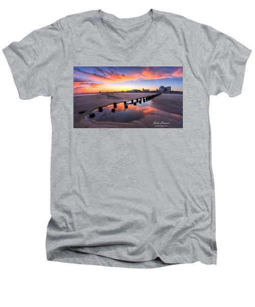 Ocean City Afterglow Men's V-Neck T-Shirt by John Loreaux
