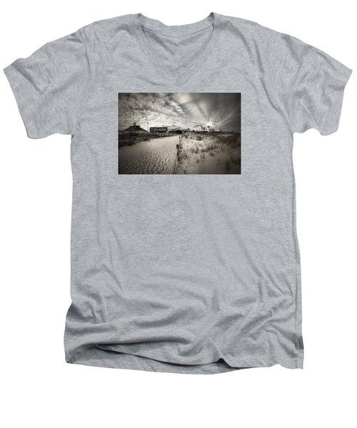 Ocean City Bw Men's V-Neck T-Shirt by John Loreaux