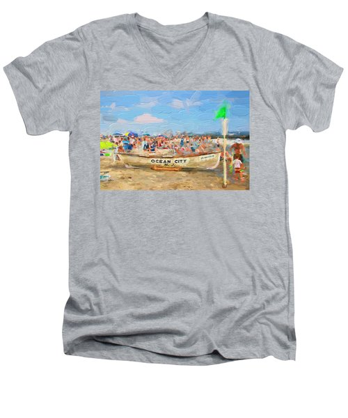 Ocean City Rescue Boat 2 Men's V-Neck T-Shirt