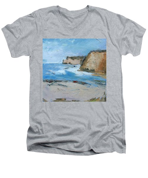 Men's V-Neck T-Shirt featuring the painting Ocean Cliffs by Gary Coleman
