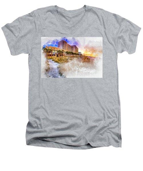Ocean Drive Sunrise Watercolor Men's V-Neck T-Shirt