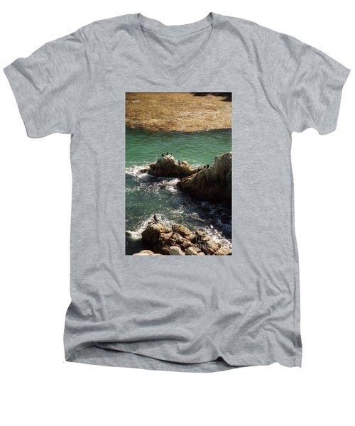 Ocean Rock Near Carmel Men's V-Neck T-Shirt by Ted Pollard