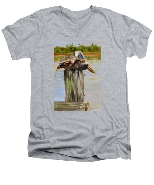 Men's V-Neck T-Shirt featuring the painting Ocean Springs Pelican by Phyllis Beiser