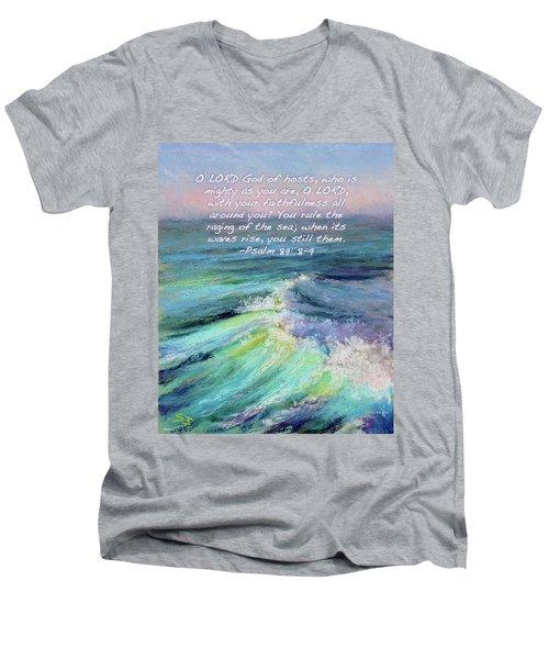 Ocean Symphony With Bible Verse Men's V-Neck T-Shirt