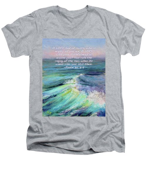 Ocean Symphony With Bible Verse Men's V-Neck T-Shirt