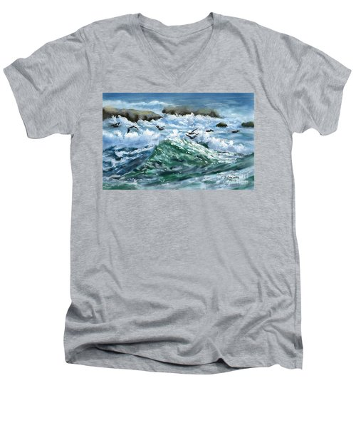 Ocean Waves And Pelicans Men's V-Neck T-Shirt by Judy Filarecki