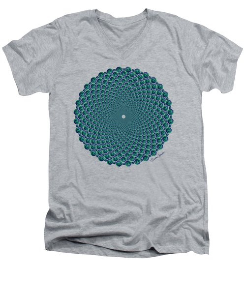 Octagonal Peacock Feathers Men's V-Neck T-Shirt