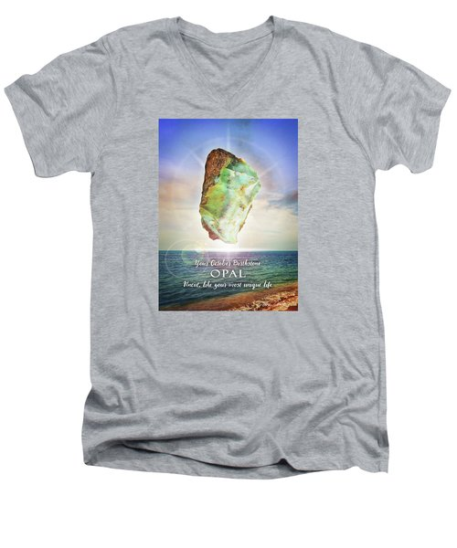 October Birthstone Opal Men's V-Neck T-Shirt