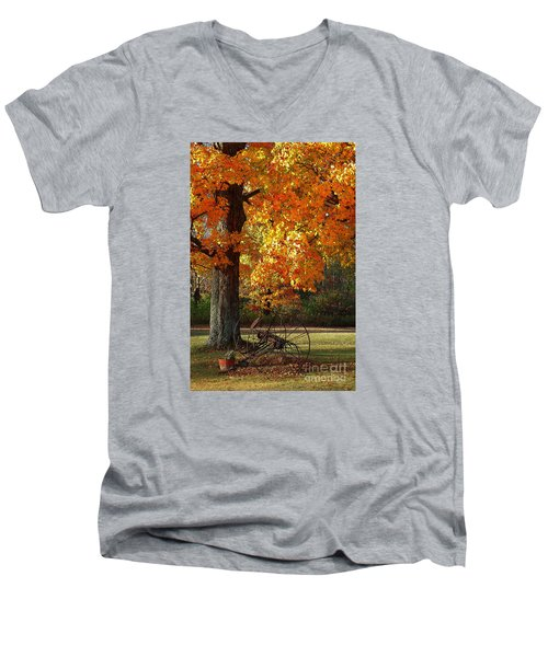October Day Men's V-Neck T-Shirt by Diane E Berry