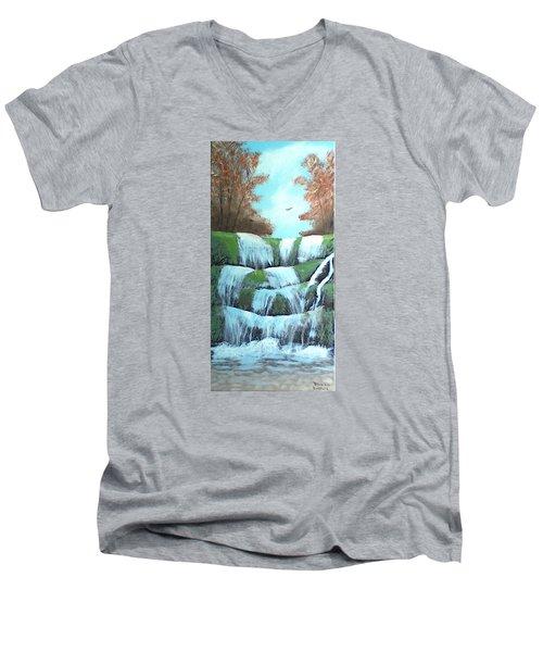 October Falls Men's V-Neck T-Shirt by Brenda Bonfield