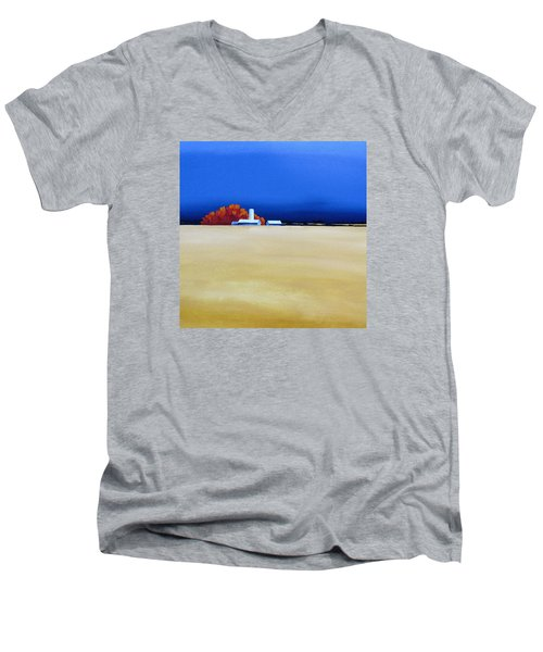 Men's V-Neck T-Shirt featuring the painting October Fields by Jo Appleby
