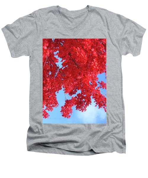 October In The Valley - Fire In The Sky Men's V-Neck T-Shirt by Brooks Garten Hauschild