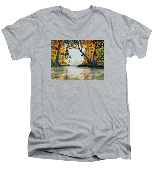 Men's V-Neck T-Shirt featuring the painting October Reflections by Jack G  Brauer