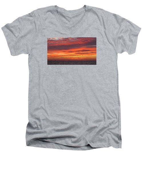 Men's V-Neck T-Shirt featuring the photograph October's Sunrise On Sanibel Island by Melinda Saminski