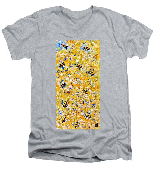 Men's V-Neck T-Shirt featuring the painting Ode To Bees.. by Cristina Mihailescu