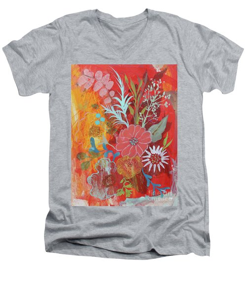 Men's V-Neck T-Shirt featuring the painting Ode To Spring by Robin Maria Pedrero