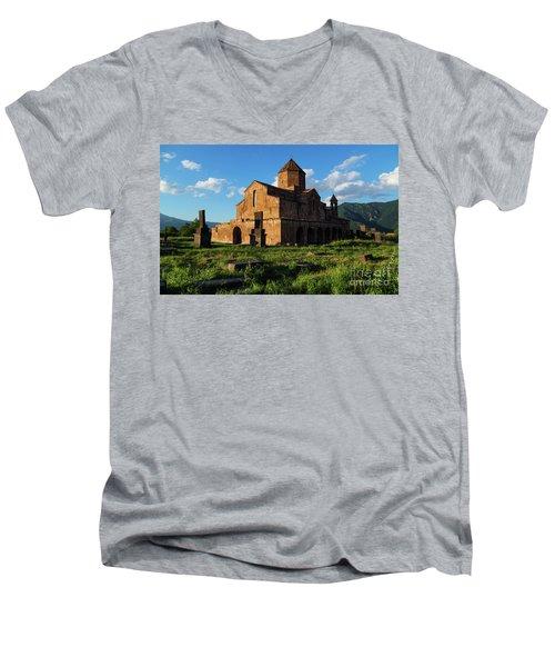 Odzun Church And Puffy Clouds At Evening, Armenia Men's V-Neck T-Shirt by Gurgen Bakhshetsyan