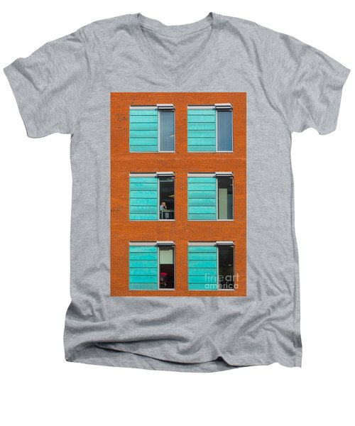 Men's V-Neck T-Shirt featuring the photograph Office Windows by Colin Rayner