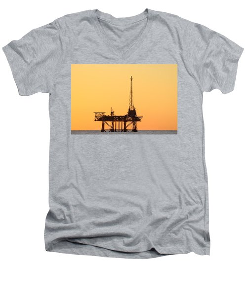 Offshore Oil And Gas Platform  Men's V-Neck T-Shirt