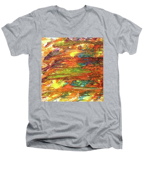 Men's V-Neck T-Shirt featuring the painting 5-offspring While I Was On The Path To Perfection 5 by Parijoy Swami Tapasyananda