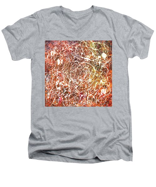 Men's V-Neck T-Shirt featuring the painting 7-offspring While I Was On The Path To Perfection 7 by Parijoy Swami Tapasyananda