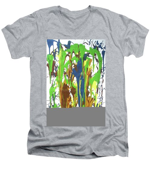 Men's V-Neck T-Shirt featuring the painting 9-offspring While I Was On The Path To Perfection 9 by Parijoy Swami Tapasyananda