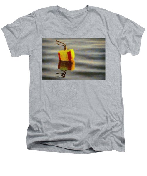 Men's V-Neck T-Shirt featuring the painting Oh Buoy by Jeff Kolker