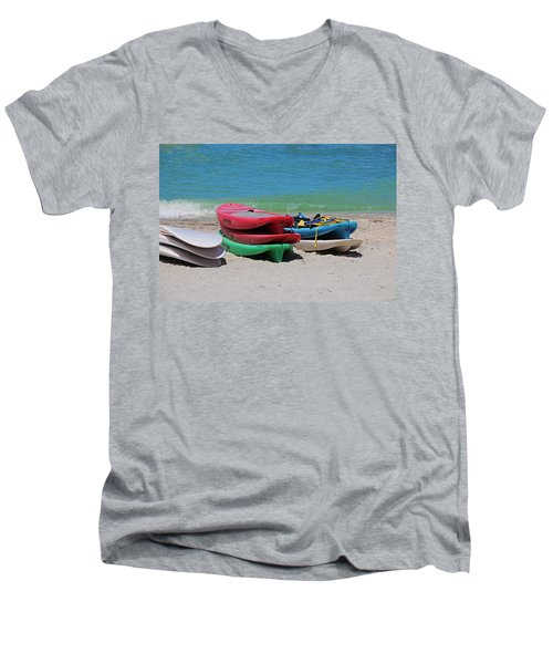 Men's V-Neck T-Shirt featuring the photograph Oh The Beach Life by Michiale Schneider