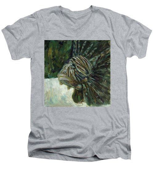Men's V-Neck T-Shirt featuring the painting Oh The Troubles I've Seen by Billie Colson