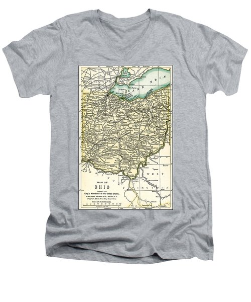 Ohio Antique Map 1891 Men's V-Neck T-Shirt