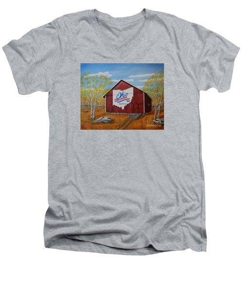 Men's V-Neck T-Shirt featuring the painting Ohio Bicentennial Barns 22 by Melvin Turner