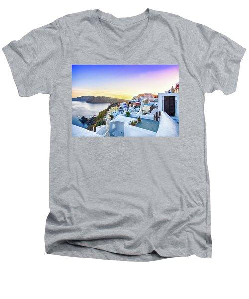 Oia, Santorini - Greece Men's V-Neck T-Shirt by Stavros Argyropoulos