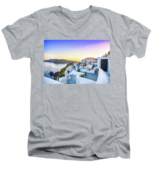 Oia, Santorini - Greece Men's V-Neck T-Shirt