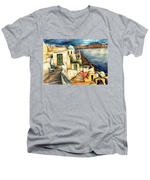 Oia Santorini Greece - Watercolor Men's V-Neck T-Shirt