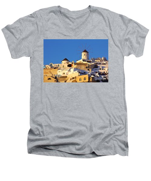 Oia Windmill Men's V-Neck T-Shirt