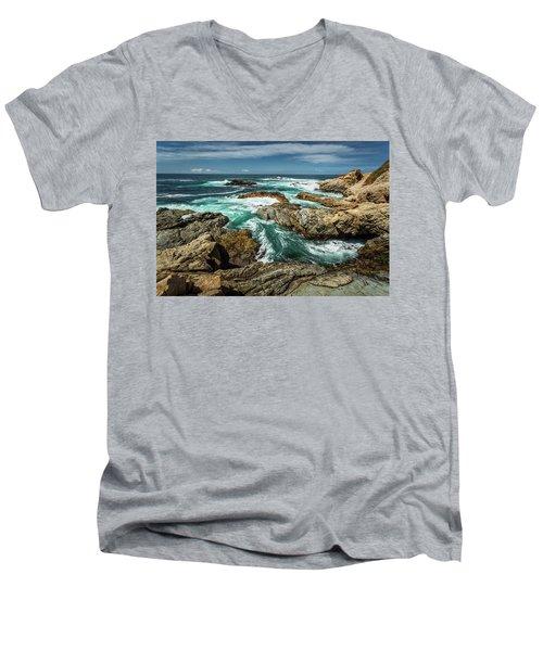 Oil Paint Of Rocks And Waves Men's V-Neck T-Shirt