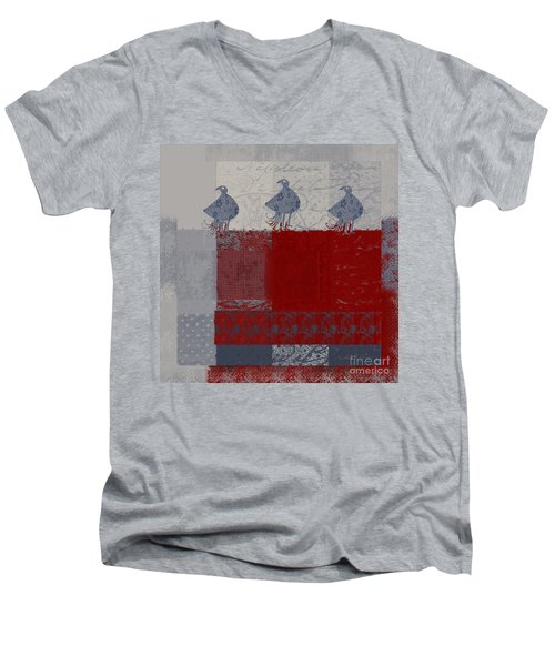 Men's V-Neck T-Shirt featuring the digital art Oiselot - J106161103_02bb by Variance Collections