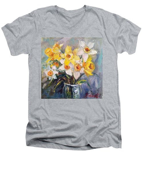 Ok Finished! #springflowers #daffodils Men's V-Neck T-Shirt