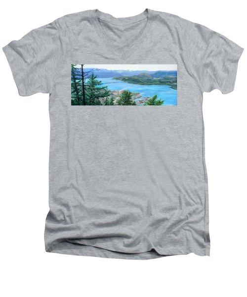 Okanagan Blue Men's V-Neck T-Shirt