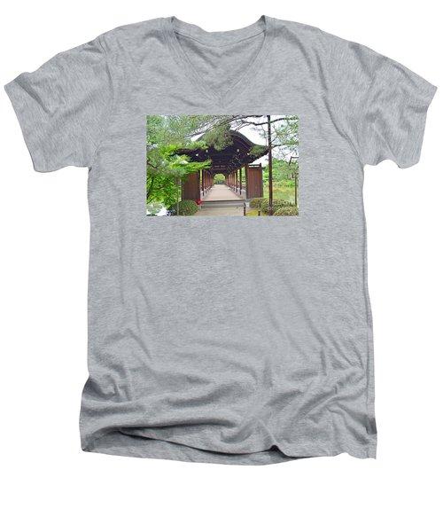 Men's V-Neck T-Shirt featuring the digital art Okazaki Park And Heian Shrine by Eva Kaufman