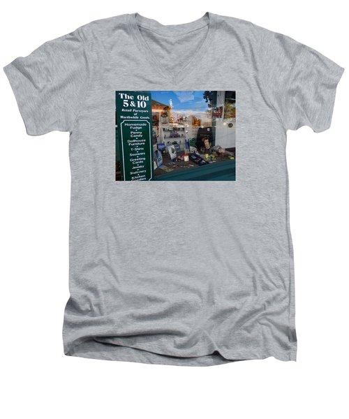 Old 5 And 10 North Conway Men's V-Neck T-Shirt by Nancy De Flon
