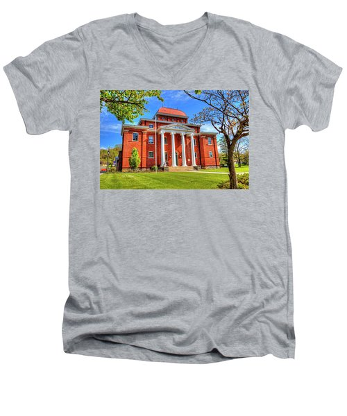 Old Ashe Courthouse Men's V-Neck T-Shirt by Dale R Carlson