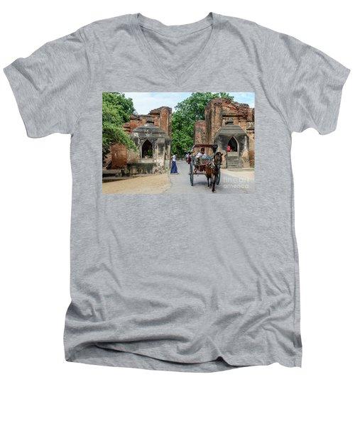 Old Bagan Men's V-Neck T-Shirt by Werner Padarin