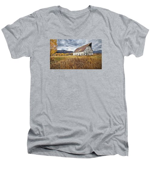 Men's V-Neck T-Shirt featuring the photograph Old Barn In Steamboat,co by James Steele