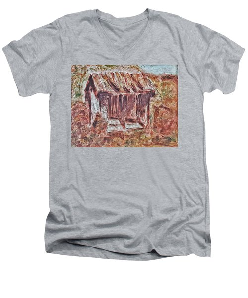 Old Barn Outhouse Falling Apart In Decay And Dilapidation Rotting Wood Overgrown Mountain Valley Sce Men's V-Neck T-Shirt