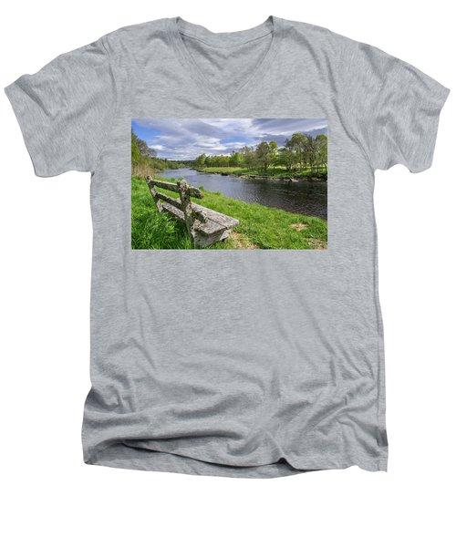 Old Bench Along Spey River, Scotland Men's V-Neck T-Shirt