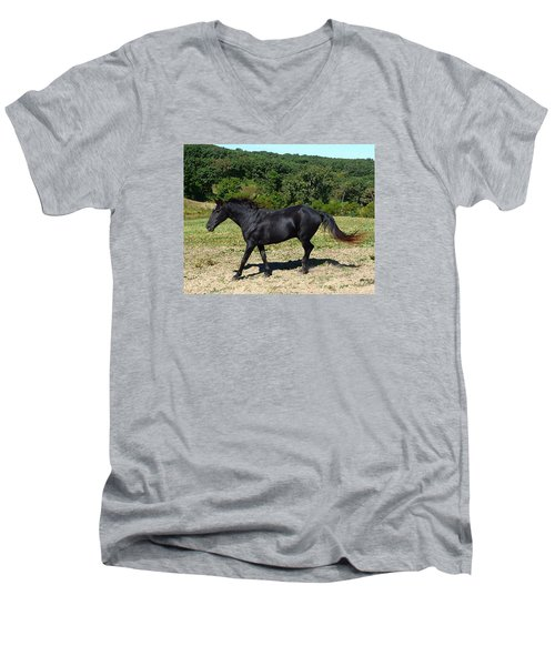 Men's V-Neck T-Shirt featuring the digital art Old Black Horse Running by Jana Russon