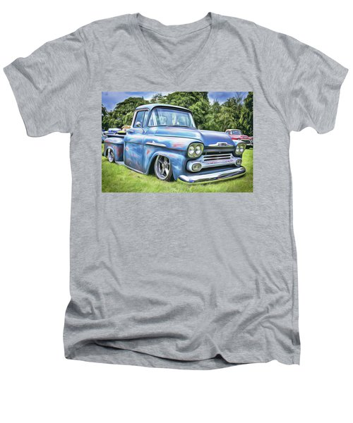 Men's V-Neck T-Shirt featuring the painting Old Blue by Harry Warrick