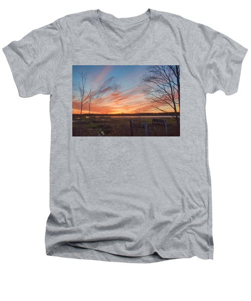 Old Bog Sunset Men's V-Neck T-Shirt